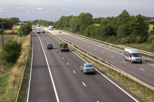 View south west from motorway bridge over M42
