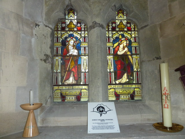 St Andrew, Todber: stained glass windows