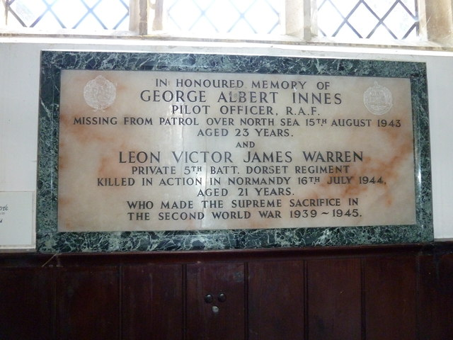 St. Peter, Hinton St. Mary: war memorial (1939-45)