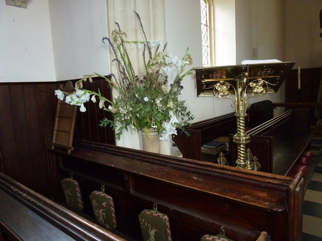 St. Peter, Hinton St. Mary: flowers by the lectern