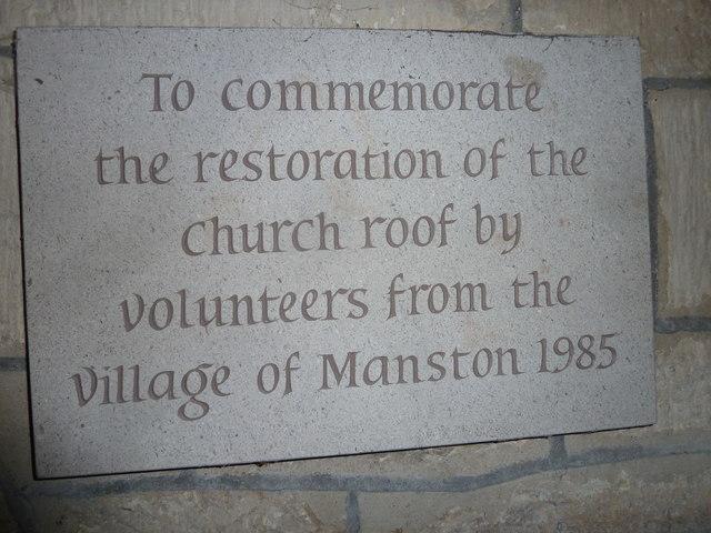 St Nicholas, Manston: restoration commemoration