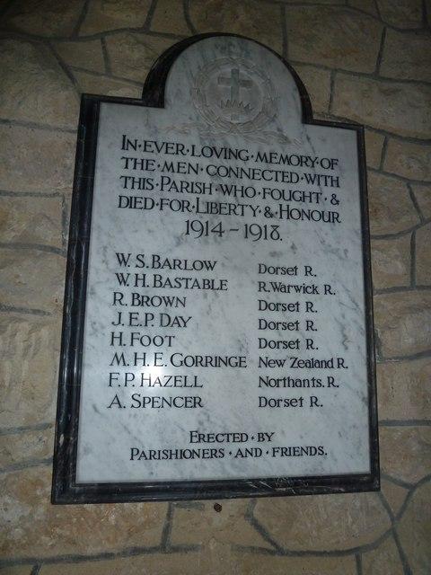 St Nicholas, Manston: war memorial