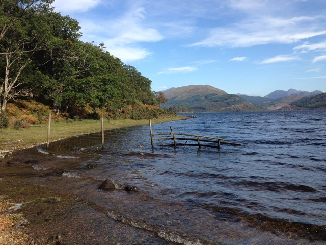 Fence on the shoreline of Loch Shiel