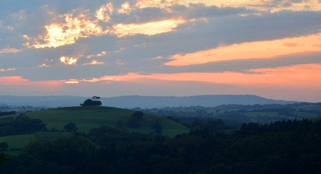 Hincknowle Hill at sunset, near Melplash, Dorset