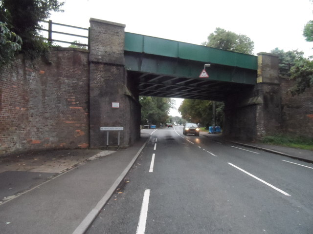 Railway bridge over A307 near Weston Green