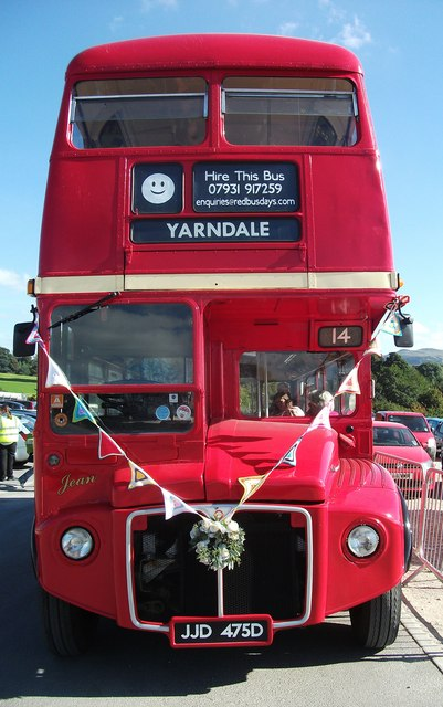 Red bus at Skipton Auction Mart