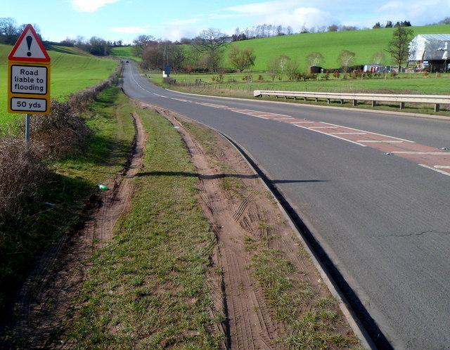 Road liable to flooding near Kerne Bridge, Goodrich
