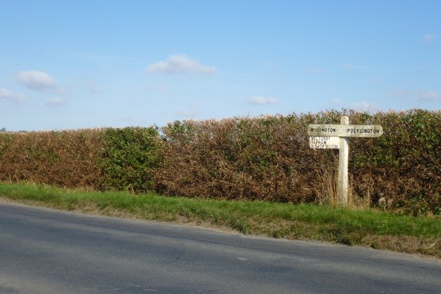 Sign and hedgerow