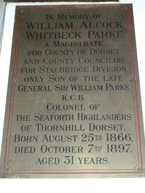 St Mary, Stalbridge: memorial (11)