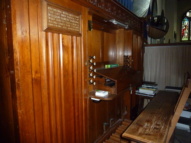 St Mary, Stalbridge: organ keyboard