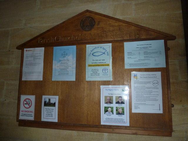 St Mary, Stalbridge: notice board