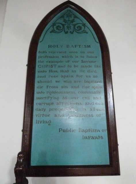 St Mary, Stalbridge: Holy Baptism board