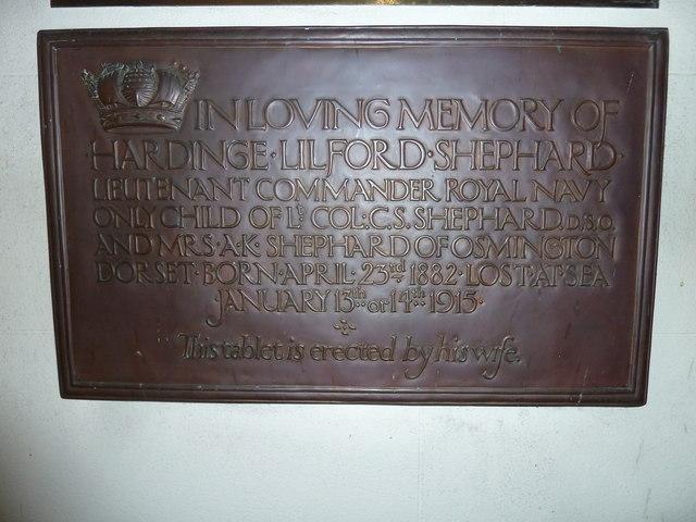 St Osmund, Osmington: memorial (a)