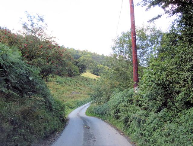 Un-named lane in the Afon Iwrch Valley south of Tan-y-ffridd