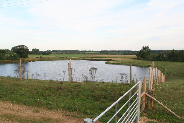 Landscaped pond or former sand pit by the bridleway from Blackborough to East Winch