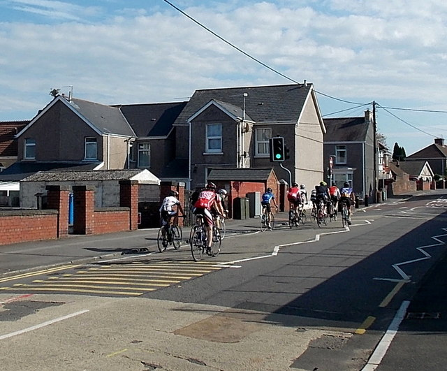 Sunday morning cyclists in Gowerton