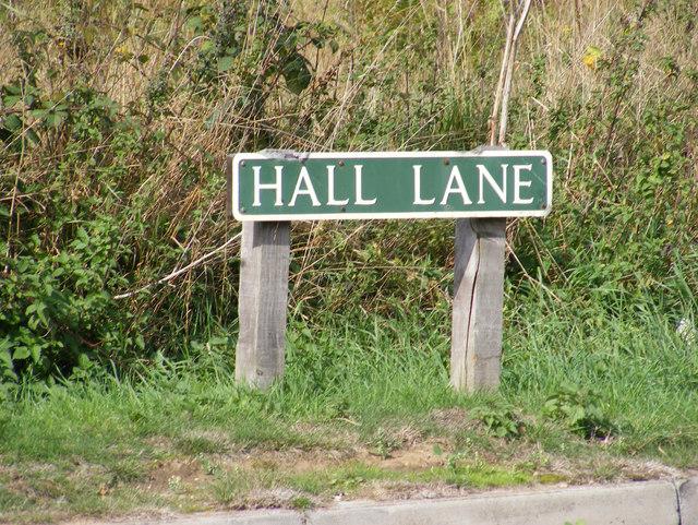 Hall Lane sign