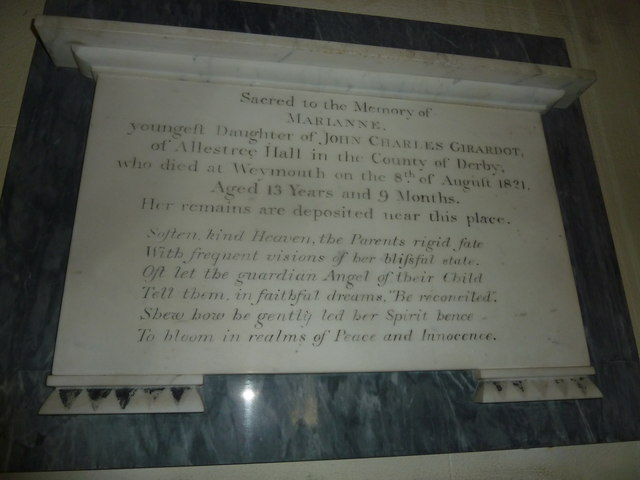 St Osmund, Osmington: memorial (f)