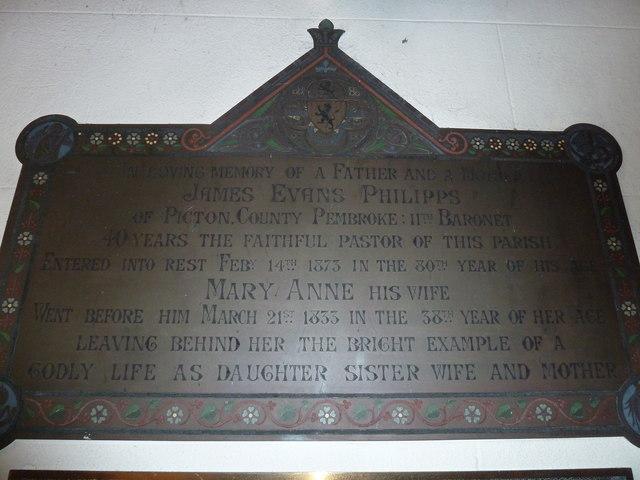 St Osmund, Osmington: memorial (k)