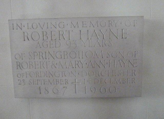St Osmund, Osmington: memorial (n)