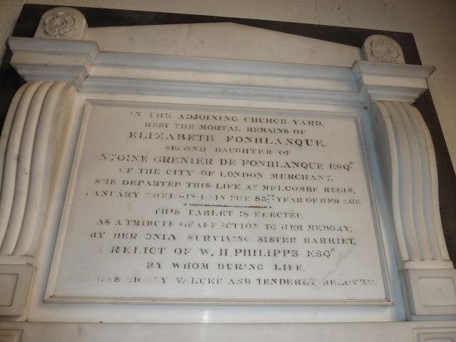 St Osmund, Osmington: memorial (o)