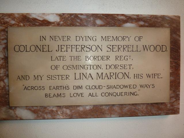 St Osmund, Osmington: memorial (p)