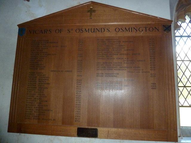 St Osmund, Osmington: incumbency board