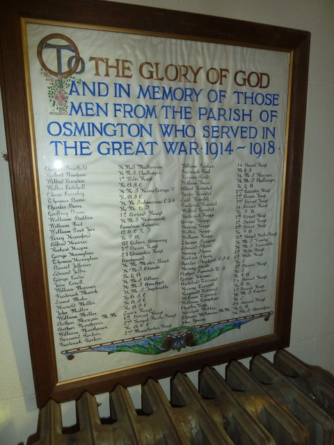 St Osmund, Osmington: war memorial (1914-18)