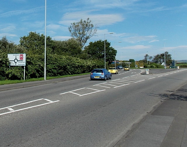Victoria Road approaches the A484 roundabout north of Gowerton