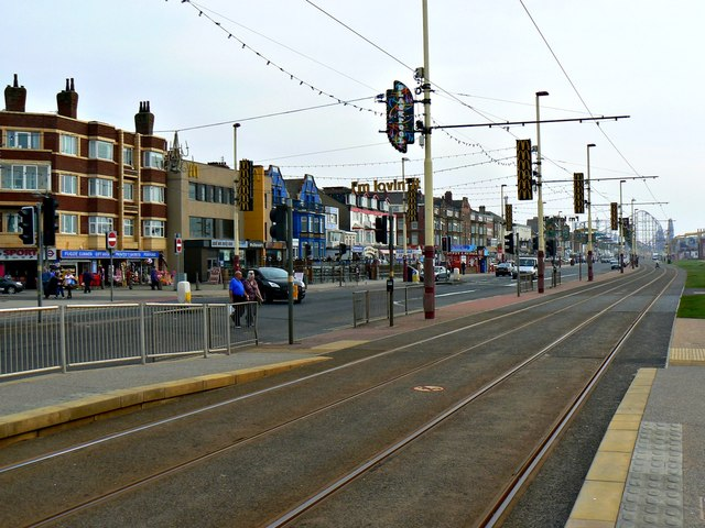 Tramway, McDonald's and the Promenade, Blackpool