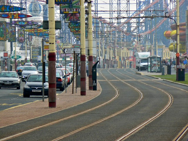 Long shot along the tramway, Blackpool