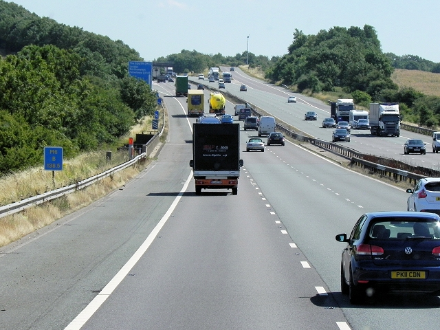 Southbound M6 Approaching Junction 1