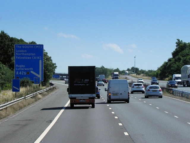 M6 Southbound, Exit at Junction 1