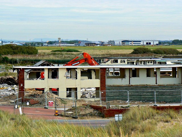 Demolition of an old holiday camp, Blackpool International Airport