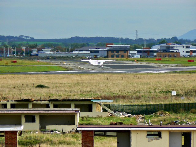 Aircraft landing at Blackpool International Airport