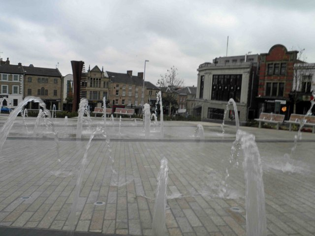 Fountains in the newly opened and named Barnsley Pals Centenary Square