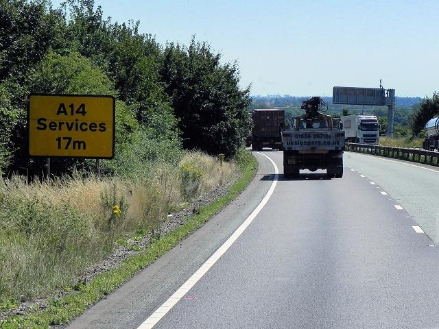 Eastbound A14, near Catthorpe Interchange