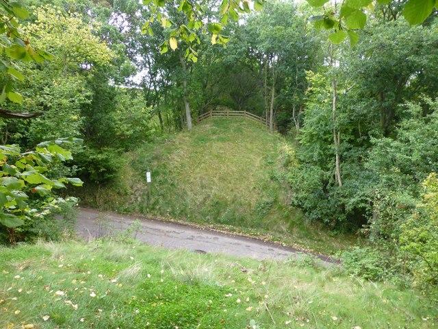 Gap in old railway trackbed