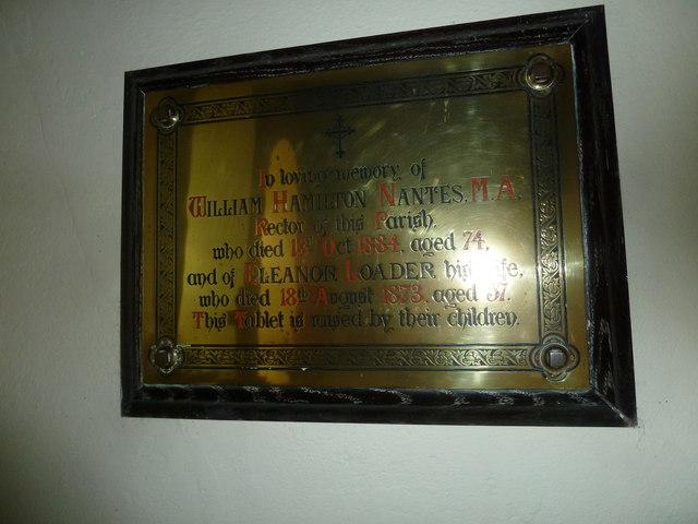 Frome Vauchurch Parish Church: memorial to  former incumbent