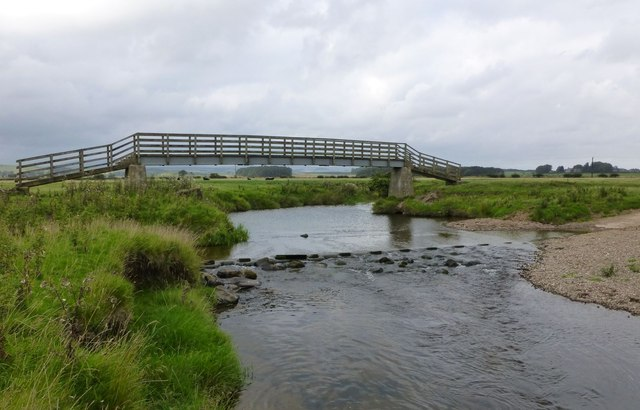 Footbridge and ford over River Breamish