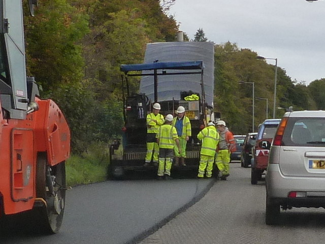 Road repair crew on the A83