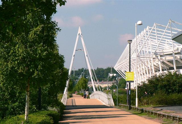 The pedestrian boulevard at Morfa Retail Park