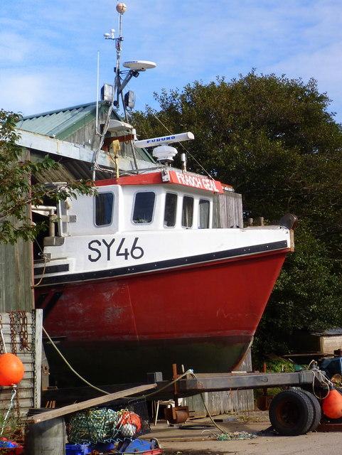Fishing boat repairs at Carsaig