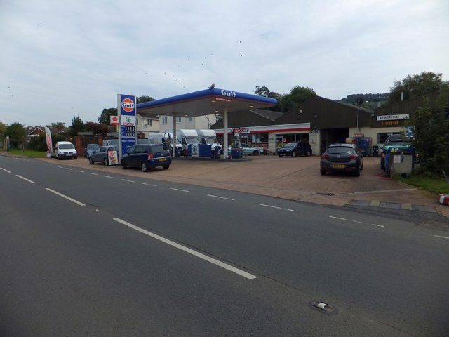 Gulf filling station and Spar shop, Musbury