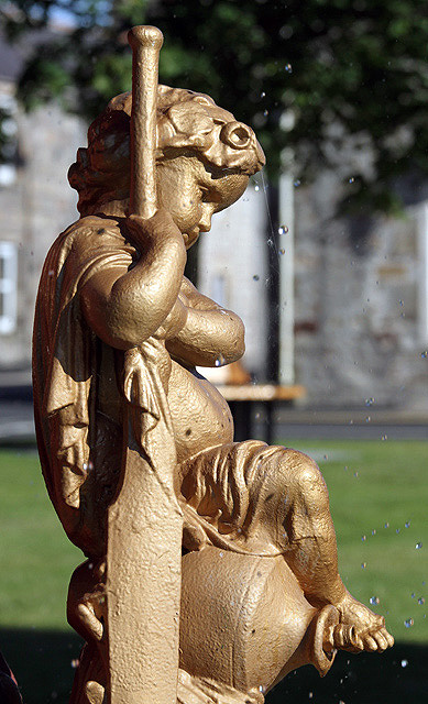 A detail on the fountain in The Square at Fochabers