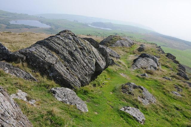 View to Llyn Mawr and Llyn Du