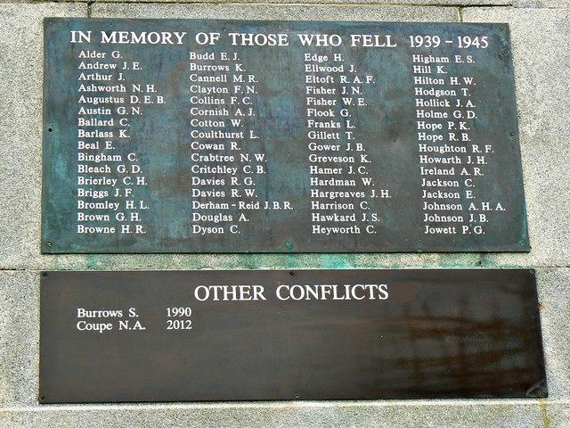 Plaque, War Memorial, Ashton Gardens, St Anne's