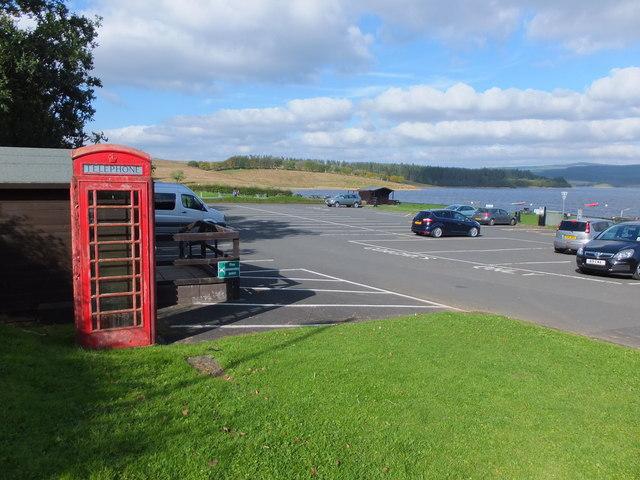 Car park with red telephone box, Leaplish