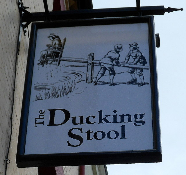 The Ducking Stool pub sign in Leominster