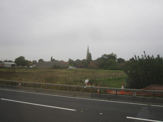 Looking in the direction of Spaldwick Church from A14